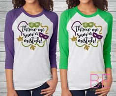 These Next Level Apparel 3/4 sleeve triblend raglan baseball tees are a personal favorite! Super comfy & soft! -50% Polyester/25% Cotton/25% Rayon -Bling Glitter Mardi Gras design (in purple, light green, & gold glitter) -Unisex sized -3/4 sleeves Youll also find a sizing reference in the listing photos :) The measurements listed for each size refer to the measurements of the garment when laid flat. Please bear in mind that the turnaround time for these tees is...