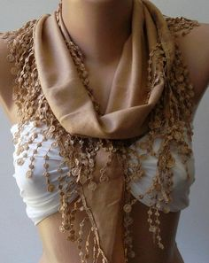 Caramel  Pashmina and Elegance Shawl / Scarf with Lace by womann, $13.50. . .I love the white bathing suit under it!