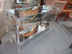 Modern Lucite Console with mirrored top & bottom shelf. Palm Beach Regency, Console, Family Room, New Homes, Mirror, Architecture, Modern, Inspiration, Home Decor