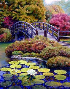 Bridge Painting by John Lautermilch - Japanese Bridge Fine Art . Beautiful Paintings, Beautiful Landscapes, Beautiful Gardens, Landscape Art, Landscape Paintings, Nature Pictures, Beautiful Pictures, Bridge Painting, Pond Painting