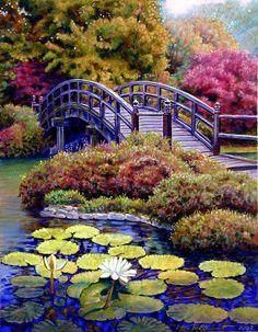 Paintings of bridges | Bridge Painting by John Lautermilch - Japanese Bridge Fine Art ...