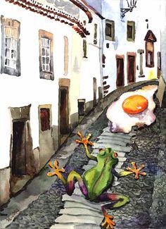 Scena urbana :), 2003. Acquarello