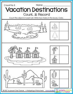 Where would you like to go for vacation? The lake, a tropical island, or the desert? This summer worksheet indulges in a little bit of those wonderings and musings. Kids count how many of each object and record how many in the boxes. Great counting to 5 worksheet, and great for the imagination! This page is part of my August Counting Worksheets. Please check them out! Counting Worksheets For Kindergarten, Summer Worksheets, Counting For Kids, Kindergarten Math, Kids Count, Learn To Count, My Teacher, Imagination, Boxes