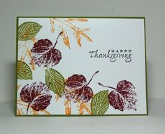 Fall Leaves - November Mission by Missro - Cards and Paper Crafts at Splitcoaststampers thanksgivinggreetingcards Fall Cards, Winter Cards, Leaf Cards, Beautiful Handmade Cards, Stamping Up Cards, Thanksgiving Cards, Card Patterns, Pretty Cards, Watercolor Cards