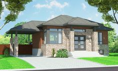 This Bungalow style home plan with Contemporary influences (House Plan has 938 sq. of living space. The 1 story floor plan includes 2 bedrooms. Bungalow House Plans, Bungalow Homes, Small House Plans, Architectural Design House Plans, Architecture Design, Latest House Designs, Large Kitchen Island, Modern Style Homes, Sliding Glass Door