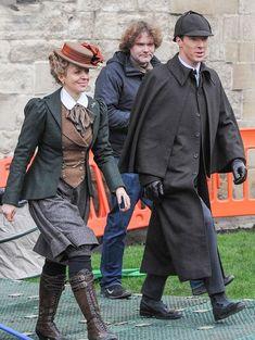 Amanda Abbington and Benedict Cumberbatch after filming a scene ---- > http://www.mirror.co.uk/tv/tv-news/sherlock-season-4-spoilers-benedict-5024951