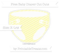 Pastel Light Yellow Diagonal Striped Extra Large Baby Diaper Cut Outs