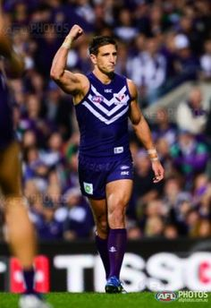 Matthew Pavlich of the Fremantle Dockers celebrates a goal during the 2013 2nd Preliminary Final match between the Fremantle Dockers and the Sydney Swans at Patersons Stadium, Perth on September 21, 2013. (Photo: Daniel Carson/AFL Media)