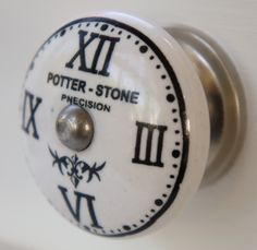 Roman Numerals clockface cupboard knob. Mix and match door knobs to upgrade your furniture and 500 more designs at www.theseplease.co.uk