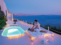 Katikies Hotel, Greece - I can't think of anything more romantic than blue, blue water and that startling white. Love it! The pool room with views on the sea is even better :)