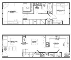 Small apartment furniture placement narrow residential unit dream home tiny cottage house plans design Narrow House Designs, Narrow House Plans, Tiny House Design, Small House Plans, House Floor Plans, Apartment Layout, Apartment Plans, Apartment Design, Apartment Kitchen