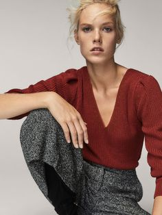 COTTON SWEATER WITH PUFFY SLEEVES - null -  Massimo Dutti