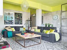 Casa de estilo nórdico colorido ~ Decoração e Ideias - casa e jardim - Teto colorido