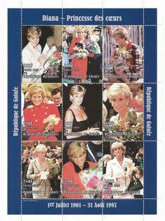 Princess Diana Postal Commemorative Sheet Issued By Guinea, Diana - Princess Of Wales 1961 - 1997.