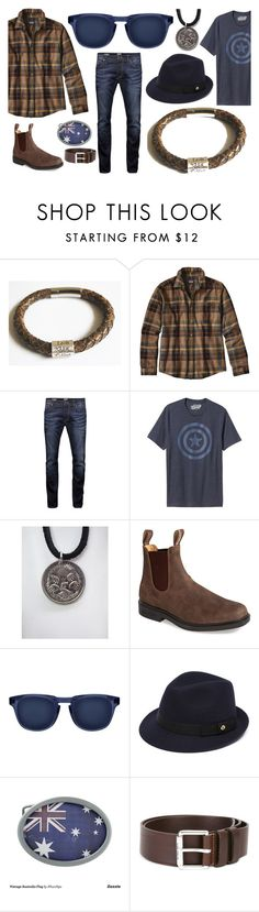 """""""Brown and Navy feat. Bare Hands Jewellery"""" by markalinojewelry ❤ liked on Polyvore featuring Patagonia, Jack & Jones, Old Navy, Blundstone, Mulberry, PS Paul Smith, men's fashion, menswear, Australia and perth"""