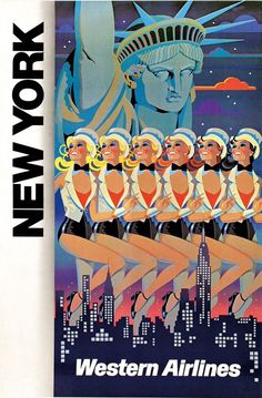 Vintage Airline Travel Poster / Western Airlines - New York