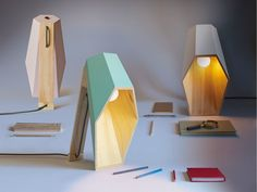 Candeeiro de mesa em abeto WOODSPOT by Seletti design Alessandro Zambelli