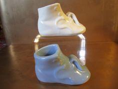 Vintage Retro Victorian Baby Shoes Blue Pink Ceramic Pottery Planters