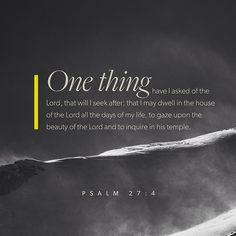 The one thing I ask of the LORD — the thing I seek most— is to live in the house of the LORD all the days of my life, delighting in the LORD's perfections and meditating in his Temple. ‭‭Psalms‬ ‭27:4