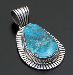 Andy Cadman (Navajo) - Turquoise & Sterling Silver Lined Edge Pendant #41504 $330.00