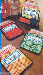 "Free Plastic Canvas Coaster Patterns   ... RIBBON COASTERS"" PEACHES CHERRIES PLASTIC CANVAS PATTERN * 4 DESIGNS"