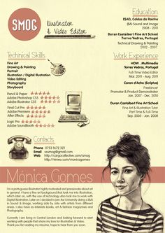 Monica Gomes SMOG Creative CV by Miguel Rato, via Behance