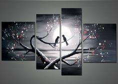 Home » Love Birds- Romantic Art Oil Painting - 1221 - 55 x 32 In ...