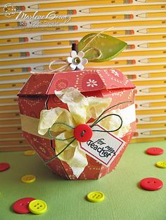 Scrappin Cookie: Xyron Inspiration Tutorial - 3D Apple Box Gift Set   What a cute idea for a teacher gift!
