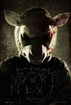 In theaters today is You're Next, a low-budget home invasion horror film about a wealthy family targeted by a gang Horror Movie Posters, Horror Movie Characters, Horror Movies, Cinema Posters, Horror Art, Scary Movies, Hd Movies, Movies Online, Movies And Tv Shows