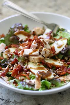 Apple, Bacon & Pecan Salad with Garlic Balsamic Dressing. Fast, easy, delicious. Use leftover chicken to make this come together fast!