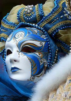 Venice mask blue and gold Venetian Carnival Masks, Mardi Gras Carnival, Carnival Of Venice, Venetian Masquerade, Masquerade Party, Masquerade Masks, Mardi Gras Masks, Venitian Mask, Fantasy