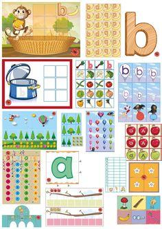 Letterpakket bij de letter b en a, 10 verschillende educatieve spellen van juf Petra van kleuteridee.nl