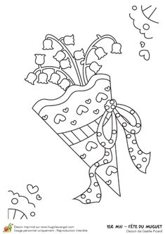 Coloriage de brins de muguet pour le 1er mai dans une pochette Illustration, Playing Cards, Adult Coloring, Diy, Spring, Adult Colouring In, Bricolage, Playing Card Games, Do It Yourself