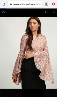 99dfd1b5e1db91 lace peach color bell sleeves top