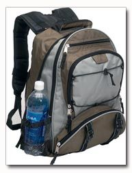 """Maxam Backpack. Made of tough nylon/polyester this backpack will hold up under the stress of a whole school year and longer or a long hiking trip. Features two roomy zippered interiors, superior extra-wide padded shoulder strap/harness and padded hand grip. 18"""" tall. 2 lbs each. Item #LUBPAG"""