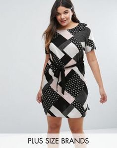 New Look Plus Graphic Print Belted Tunic Dress