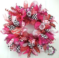Funky Deco Mesh Valentine's Day Wreath For Door or Wall Hearts Red Hot Pink White Black