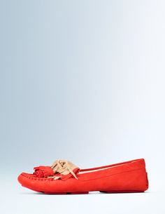 Call off the search – we've found THE flat you've been looking for. Even better? Receive 20% off with code HUE2 | Comfortable but stylish. Classic but unique. Fringing and hand-crafted tassels in contrasting colours give these suede moccasins a Boden twist. (It's OK, you don't have to save them for driving.)