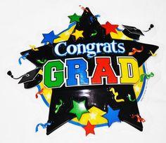 Congrats Grad with Stars Graduation Cake Topper