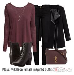 Klaus Mikelson female inspired outfit/TO by tvdsarahmichele on Polyvore featuring H&M, Frame Denim, Steve Madden, Yves Saint Laurent and Kenneth Cole