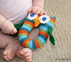 tangled happy: Stripey Owl Baby Rattle