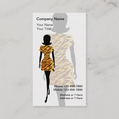 Fashion Business Cards Fashion business cards with chic fashion lady wearing an animal print dress and text layout you can customize on a pink background color you can change. Stylish business card that is distinctive and fresh. Best business cards for themes related to fashion boutique, modeling, beauty, or use this for a hair or nail salon. #BusinessCard Fashion Business Cards, Cool Business Cards, Text Layout, Animal Print Dresses, Company Names, Fashion Boutique, Colorful Backgrounds, Women Wear, Things To Come