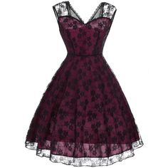 Floral Pattern Lace Vintage Fit and Flare Dress ($22) ❤ liked on Polyvore featuring dresses, rosegal, purple lace dress, vintage floral dress, vintage fit and flare dresses, lace dress and fit and flare dress