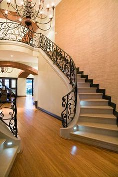Bamboo flooring with an awesome staircase