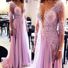 Lilac long lace sexy v-neck long sleeves prom dress with side slit, PD6777  #promdress #fashion #shopping #dresses #eveningdresses #2018prom