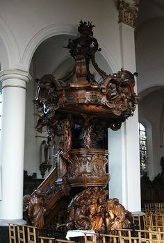 The pulpit of Saint Rombouts Cathedral in Mechelen ...