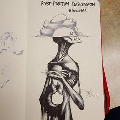 """Para el ilustrador Coss, """"la depresión Post parto en una nube en la cabeza que no te deja ver la preciosidad que tienes entre tus brazos"""""""