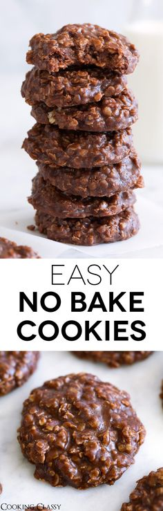 From Cecilia-- NO BAKE COOKIES. A super fast, super easy to make cookie made with chewy oatmeal, rich cocoa and creamy peanut butter. They're perfectly fudgy and always just too good to resist! A childhood favorite that I'm still making all the time. Best No Bake Cookies, Easy To Make Cookies, Easy Food To Make, Just Desserts, Delicious Desserts, Yummy Food, Baking Recipes, Cookie Recipes, Dessert Recipes