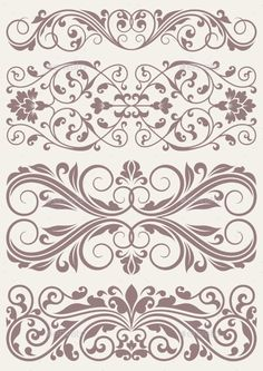 Illustration of vector set vintage ornate border frame filigree with retro ornament pattern in antique baroque style arabic decorative calligraphy design vector art, clipart and stock vectors. Lacey Pattern, Border Pattern, Border Design, Stencil Decor, Stencil Font, Stencil Designs, Printable Stencil Patterns, Arabesque Pattern, Loom Beading