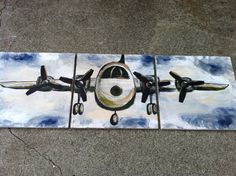 Airplane Painting, Acrylic on wood, Customize colors, set of 3-12x12- airplane, boys room, nursery, living room,  blue on Etsy, $65.00